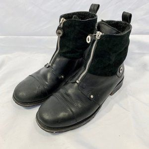 Cole Haan black leather suede zip shearling boots